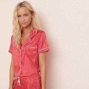 Garage Pink/White Striped Silky Button Pajama Top